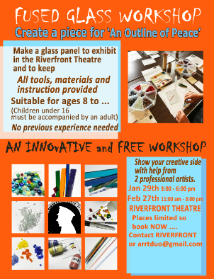 Tuesday 29 January 3pm – 6pm and Wednesday 27 February 11am – 3pmPlaces are free but space is limited so try and book ahead.Make a glass panel to display at The Riverfront. All tools, materials and instruction provided, no previous experience needed.Suitable for all ages from 8 and up, though children 8 – 16 years must be accompanied by an adult.