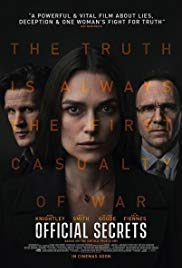 Wednesday 4 December at 4pm & 7.45pm Thursday 5 December at 7.45pmRunning time: 118 minutesDirector – Gavin HoodStarring – Kiera Knightley, Matthew Goode, Matt SmithOne day in 2003, in the lead up to the Iraq War, British intelligence specialist Katharine Gun receives a memo from the NSA with a shocking directive: the United States is enlisting Britain's help in collecting compromising information on U.N. Security Council members to blackmail them into voting in favour of an invasion of Iraq. Unable to stand by and watch the world be rushed into war, Gun makes the gut-wrenching decision to defy her government and leak the memo to the press.