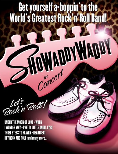 Saturday 13 March 2021 at 7.30pmTickets - £25 'The Greatest Rock & Roll Band In The World' is a bold statement but Showaddywaddy has lived up to that title for the last 4 decades! Formed in the 1970s in Leicester from several local bands, they have sold more than 20 million records and have toured all corners of the World extensively. Their live show is dynamic and uplifting featuring all of their biggest hits, many of which reached number one in the pop charts of Europe.  'Under The Moon of Love', 'Three Steps to Heaven', 'Hey Rock & Roll', 'When', 'Blue Moon', 'Pretty Little Angel Eyes' and many, many more. So come and join the 'Dancin' Party'… 'You've Got What It Takes'!